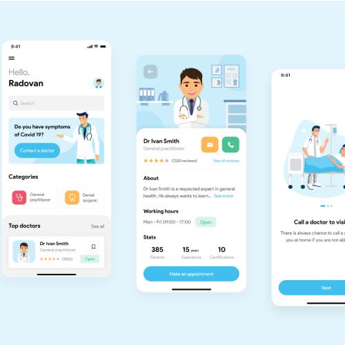 color code in UI Healthcare app