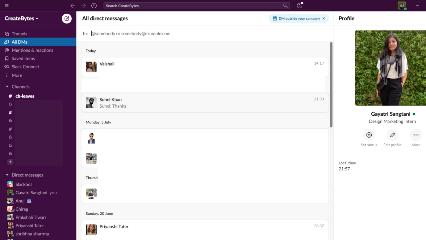 DMs, Channels, and Profile in Slack