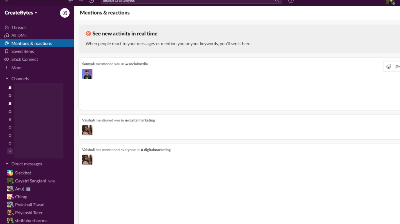 Mentions and Reactions in Slack