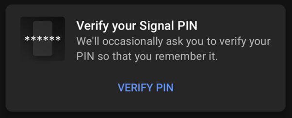 Verification in signal app