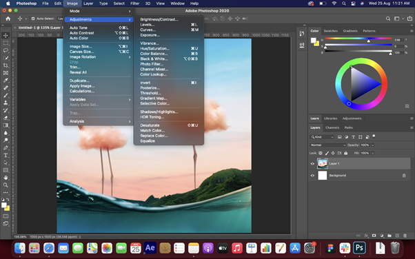 Interface of Adobe Photoshop